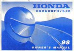 Official 1998 Honda CBR600F3 SJR Motorcycle Owners Manual