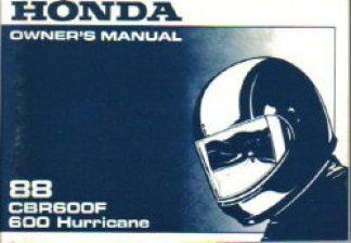 Official 1988 Honda CBR600F Hurricane Owner Manual