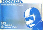 Official 1991 Honda VT600CLM Shadow VLX Owner Manual