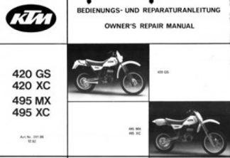 Official 1983-1984 KTM 420-495 Owners Repair Manual