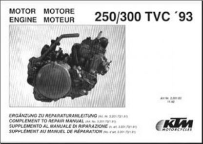 Official 1993-1995 KTM 250 300 TVC Motor Manual Supplement