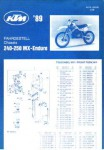 Official 1989 KTM 250 MX Enduro Chassis Spare Parts Poster