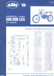 Official 1989 KTM 500 600 LC4 Chassis Spare Parts Poster