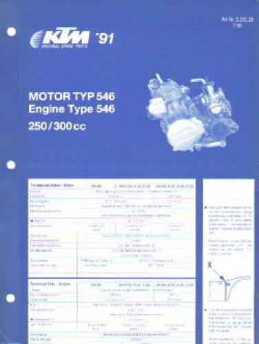 1991 KTM 250 300 Engine Spare Parts Poster