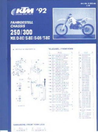 Official 1992 KTM 250 300 MX DXC EXC EGS TXC Chassis Spare Parts Poster