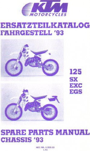 Official 1993 KTM 125 SX EXC EGS Chassis Spare Parts Poster