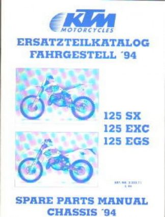 Official 1994 KTM 125 SX EXC EGS Chassis Spare Parts Poster