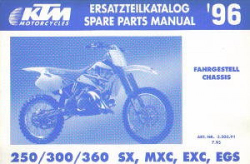 1996 ktm 250 300 360 sx mxc exc egs chassis spare parts manual rh repairmanual com 1996 ktm 360 exc service manual KTM EXC Supermoto