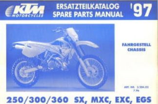 Official 1997 KTM 250 300 360 SX SMX EXC EGS Chassis Spare Parts Manual