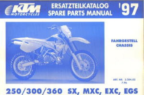 1997 Ktm 250 300 360 Sx Smx Exc Egs Chassis Spare Parts Manual