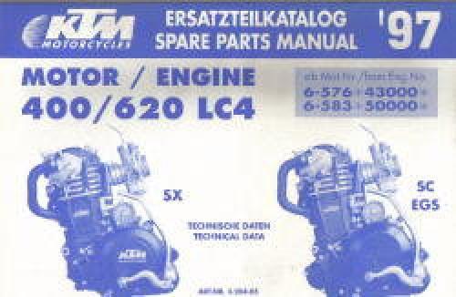 1997 ktm 400 620 lc4 motorcycle engine spare parts manual. Black Bedroom Furniture Sets. Home Design Ideas