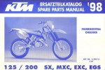 Official 1998 KTM 125 200 SX MXC EXC EGS Chassis Spare Parts Manual