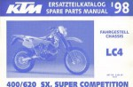 Official 1998 KTM 400 620 SX SC Chassis Spare Parts Manual