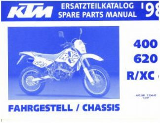 Official 1998 KTM 400 620 R XCe Chassis Spare Parts Manual