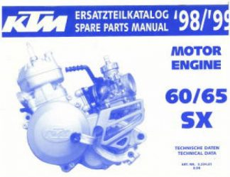Official 1998 and 1999 KTM 60 65 SX Engine Parts Manual