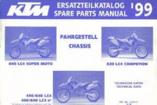 Official 1999 KTM 400 640 LC4 Chassis Spare Parts Manual