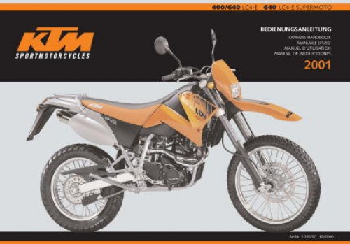 Official 2001 KTM 400 640 LC4 E And Supermoto Owners Handbook