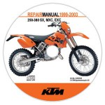 Official 1999-2003 KTM 250-380 SX MXC EXC Repair Manual on CD-ROM