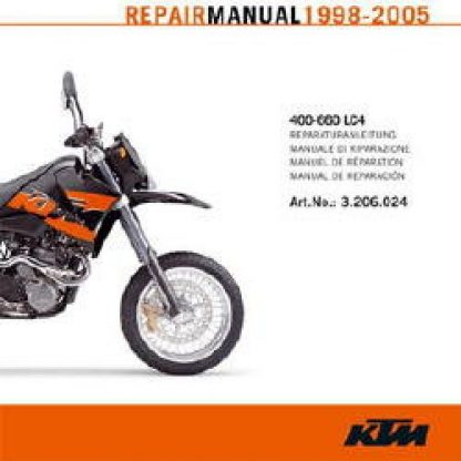Official 1998-2005 KTM 400-660 LC4 Engine Repair Manual on CD ROM