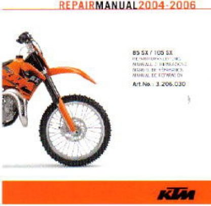 Official 2004-2006 KTM 85SX 105SX Repair Manuals on CD-ROM