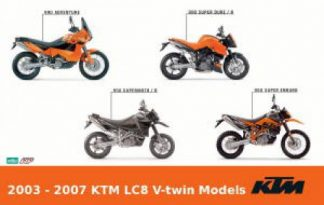 Official 2003-2007 KTM LC8 950 990 V-twin Motorcycle Repair Manuals on CD-ROM