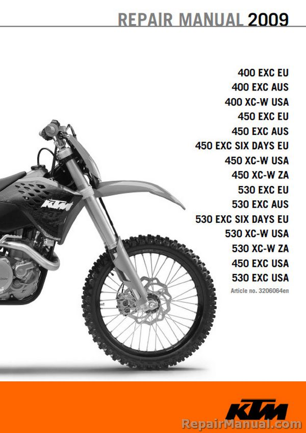 2009 ktm motorcycle service manual 400 450 530 exc xc w six days rh repairmanual com Motorcycle Engine Repair Kawasaki Motorcycle Repair Manuals
