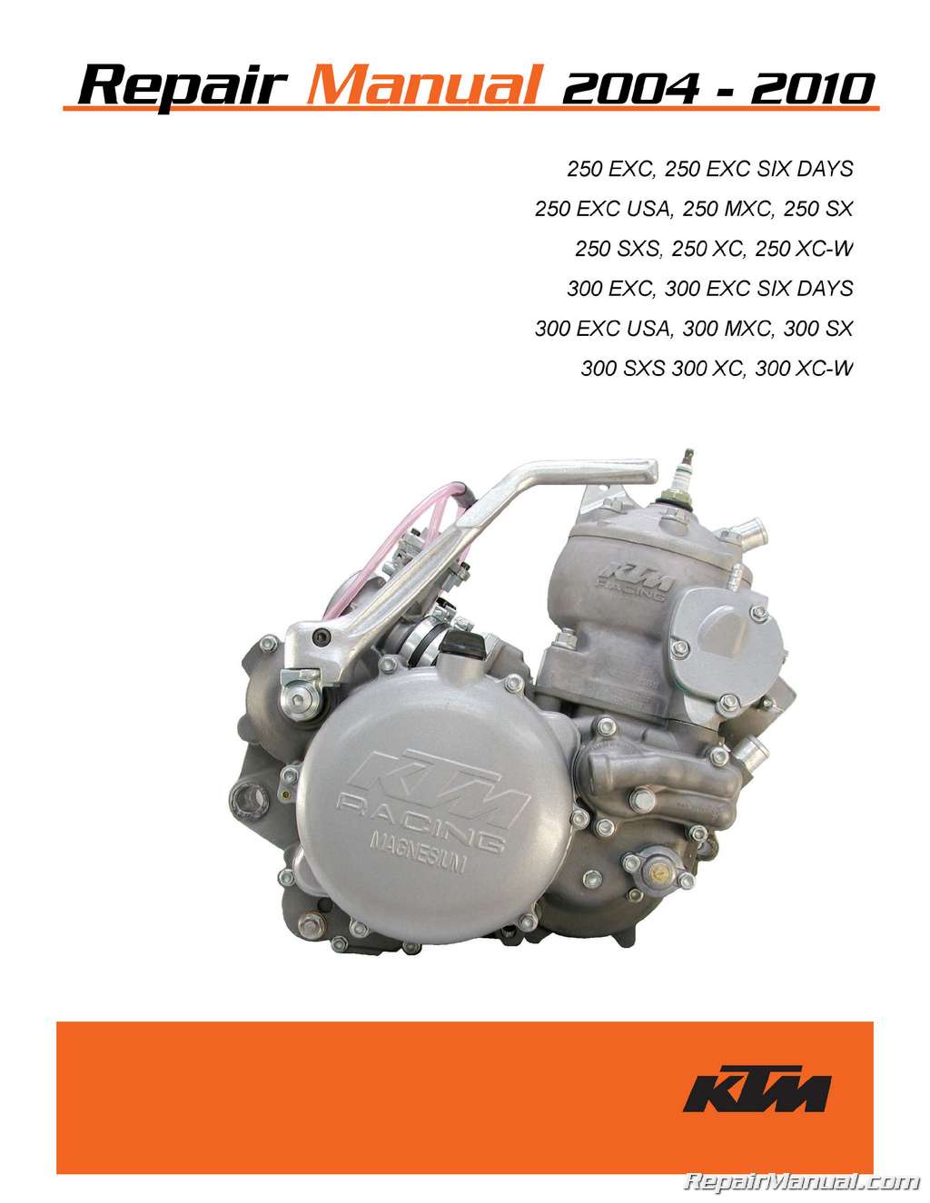 2004 2010 Ktm 250 300 Two Stroke Printed Motorcycle Service Manual Engine Diagram