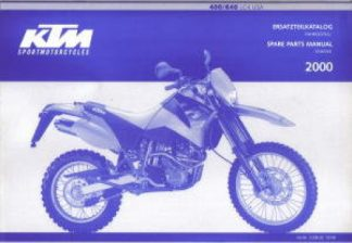 Official 2000 KTM 400 600 LC4 USA Chassis Spare Parts Manual