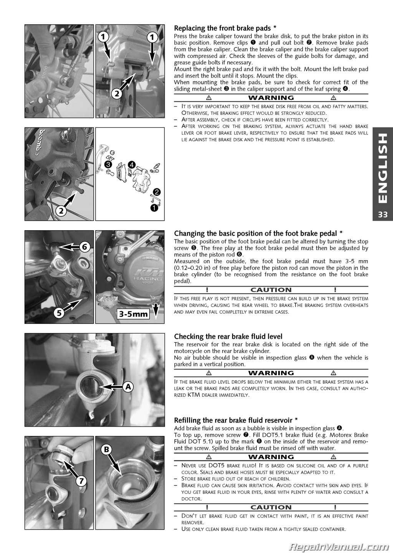 2004 Ktm 250 Exc Racing 450 525 Sx Mxc Exc Owners Handbook