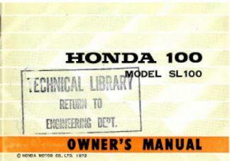 Official 1972 Honda SL100K2 Owners Manual