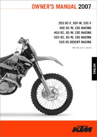 Official 2007 KTM 250 400 450 525 XC-F XCF-W EXC-F XC-W XC EXC Owners Manual