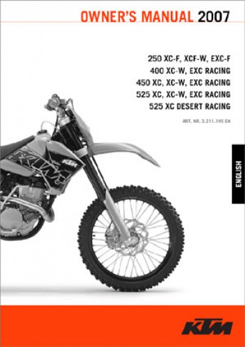 2007 ktm 250 400 450 525 xc f xcf w exc f xc w xc exc motorcycle owners manual. Black Bedroom Furniture Sets. Home Design Ideas