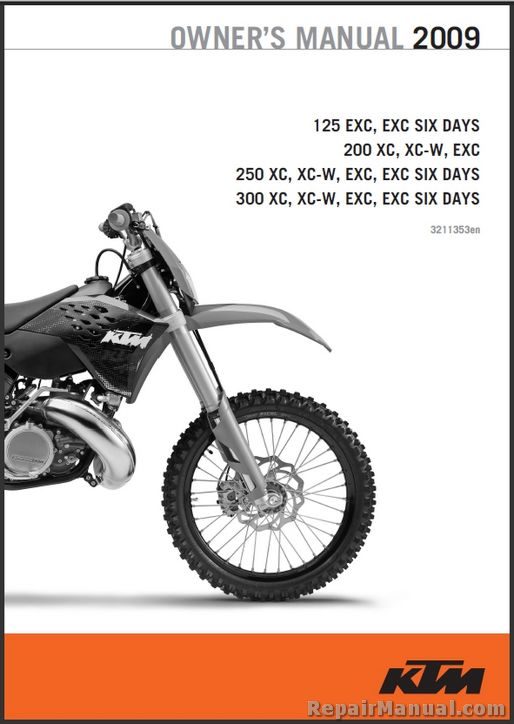 2009 ktm 125 200 250 300 xc xc w exc printed motorcycle owners manual rh repairmanual com