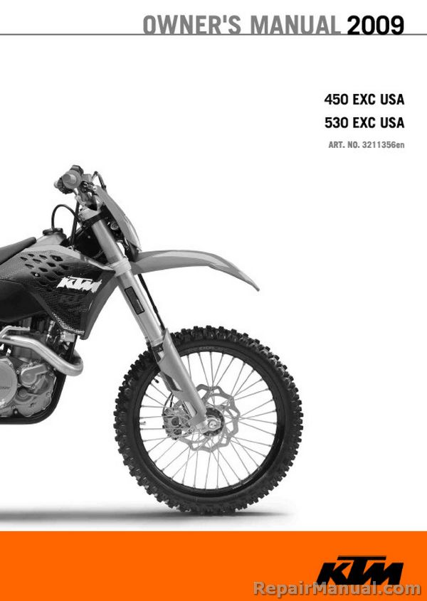 2009 ktm 450 exc 530 exc motorcycle owners manual printed rh repairmanual com 2014 KTM 125 SX 2018 KTM 125 SX