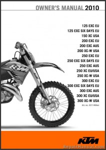 2010 KTM 125 150 200 250 300 XC XC-W EXC Owners Manual