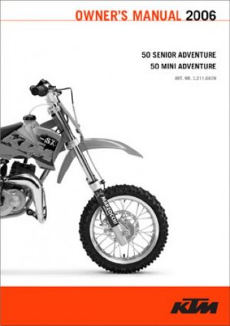 Official 2002-2006 KTM 50 Senior Mini Adventure Owners Manual Paper