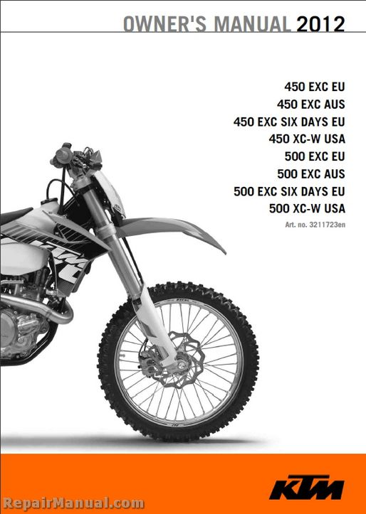 2012 ktm 450 exc xc w 500 exc xc w motorcycle owners manual Ktm 500 Exc Service Manual