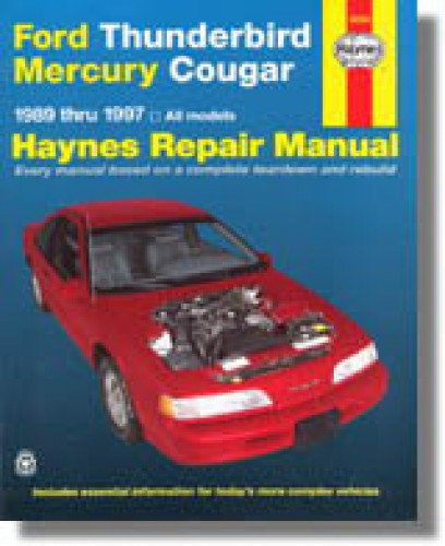 haynes ford thunderbird mercury cougar 1989 1997 auto repair manual rh repairmanual com 1997 mercury cougar owners manual 1997 Mercury Villager