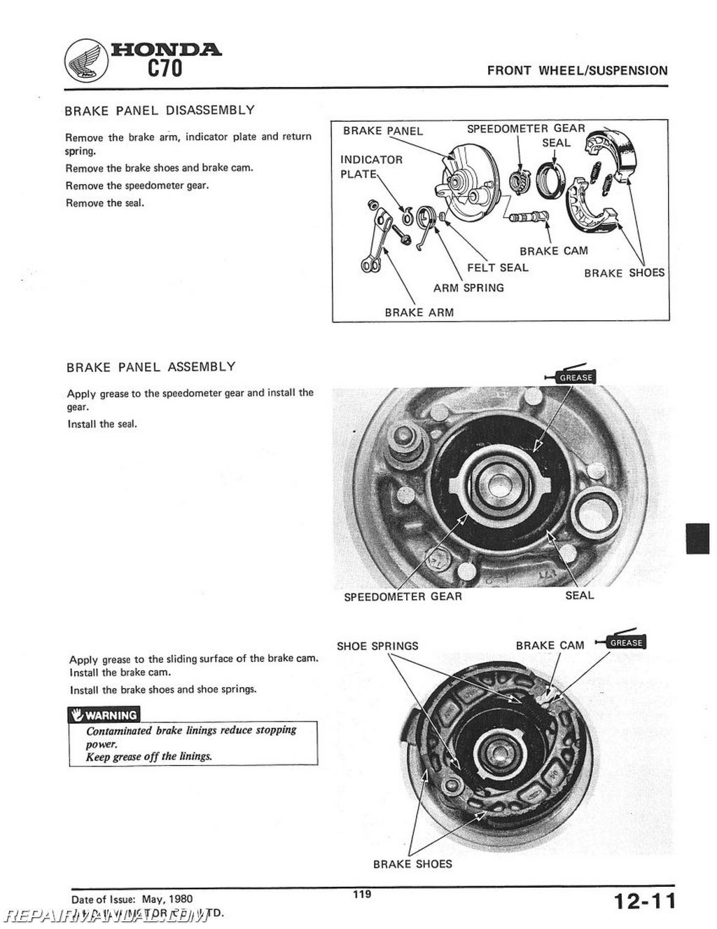 1980 1982 honda c70 scooter workshop service repair manual rh repairmanual com honda c70 service manual honda ct70 repair manual free