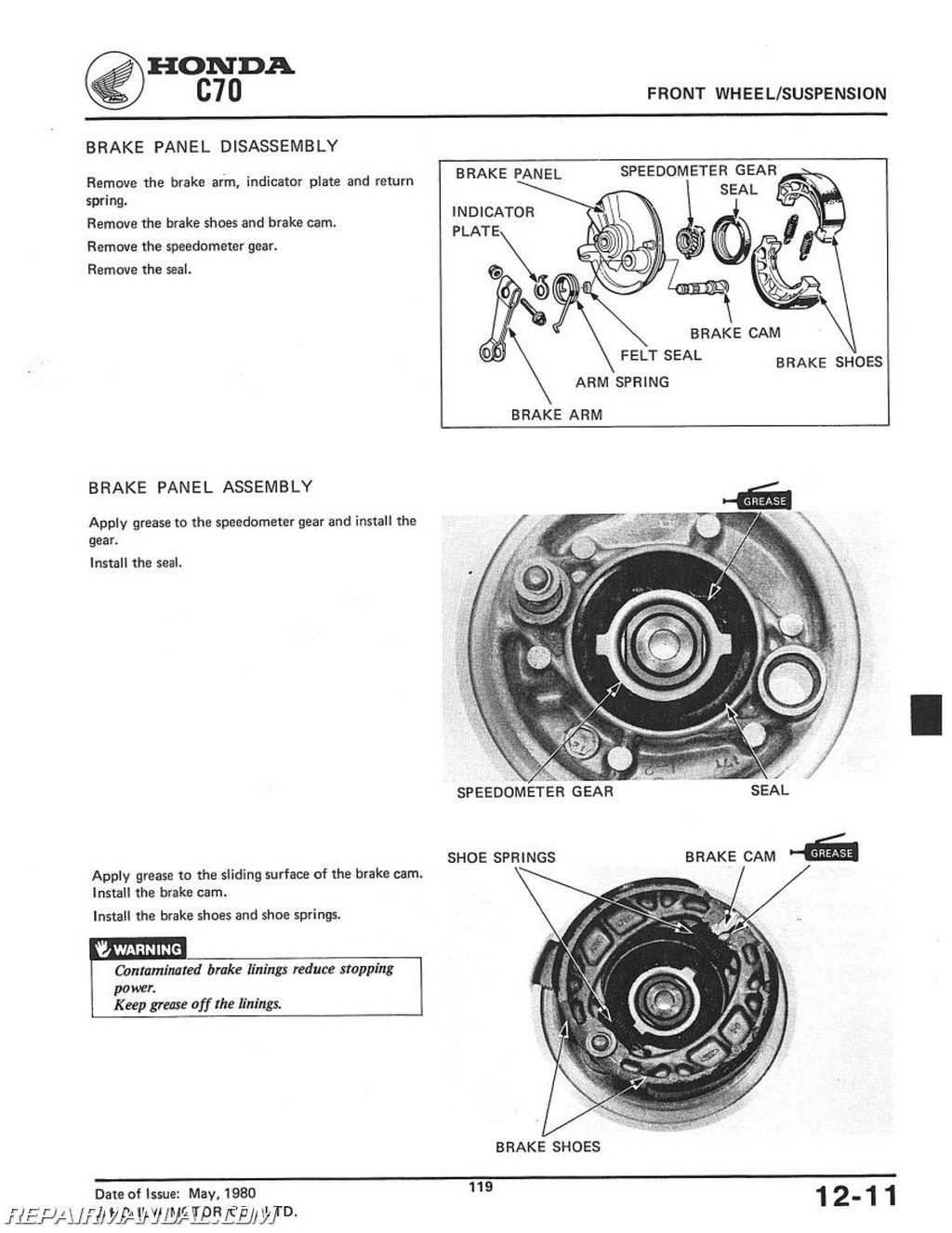 1980 1982 honda c70 scooter workshop service repair manual rh repairmanual com honda c70 parts diagram honda c70 passport parts diagram
