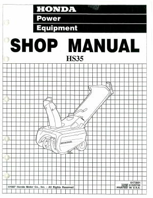 honda hs35 snowthrower shop manual rh repairmanual com Honda HS35 Snow Thrower Spark Plug Honda HS35 Snowblower Parts