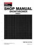 Official Honda HS521 Snowthrower Factory Shop Manual