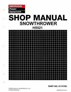 Official Honda HS521 Snowthrower Factory Shop Manual
