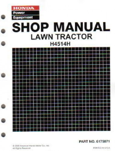 Official Honda H4514H Lawn Tractor Shop Manual