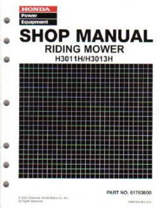 Official Honda H3011H 3013H Riding Mower Shop Manual