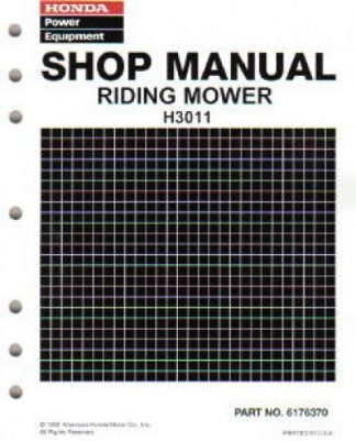 Official Honda H3011 Riding Mower Shop Manual