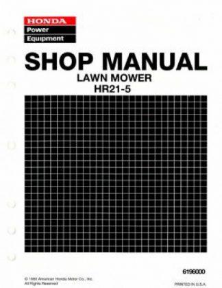 Official Honda HR21-5 Lawn Mower Shop Manual