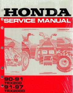 Official 1990-1991 Honda TRX200 and 1991-1997 Honda TRX200D Type 2 Factory Service Manual