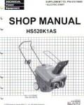Official Honda HS520K1AS Snowthrower Factory Shop Manual Z Supplement