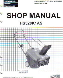 Official Honda HS520K1AS Snowthrower Factory Shop Manual Z Supplement